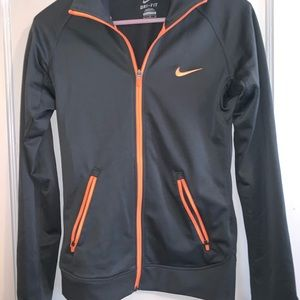 Nike Dri-fit zip up. Grey and orange size S